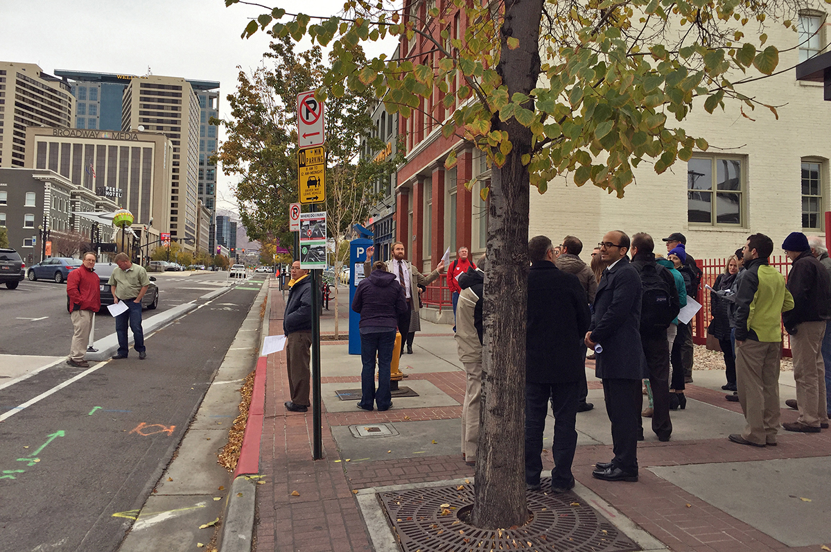 Attendees participate in a walking tour in Salt Lake City.