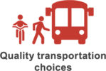 Quality transportation choices icon.