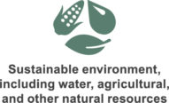Sustainable environment, including water, agricultural, and other natural resources icon.