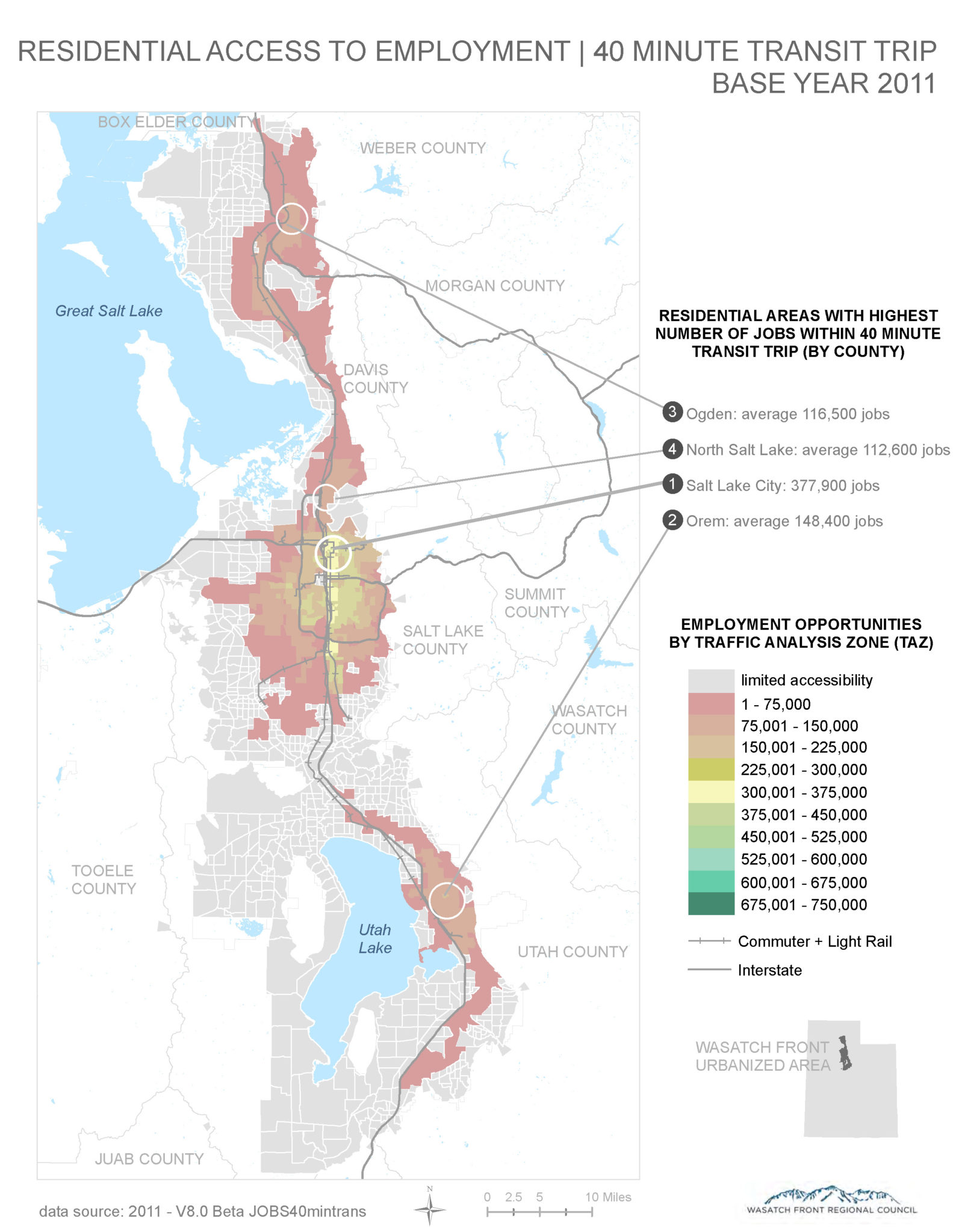 Residential Access to Employment via a 40-Minute Transit Trip heat map.