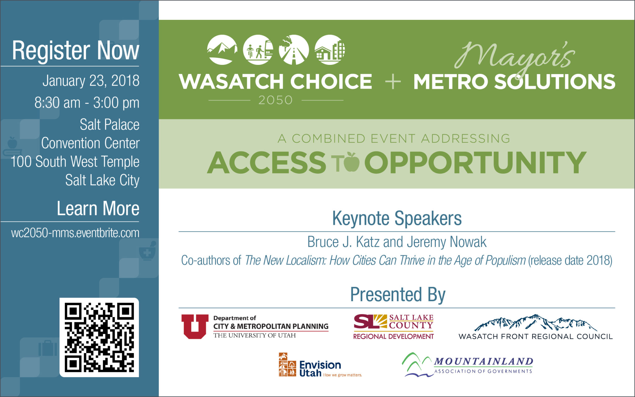 Register now for the Wasatch Choice 2050 + Mayor's Metro Solutions: A Combined Event Addressing Access to Opportunity event.