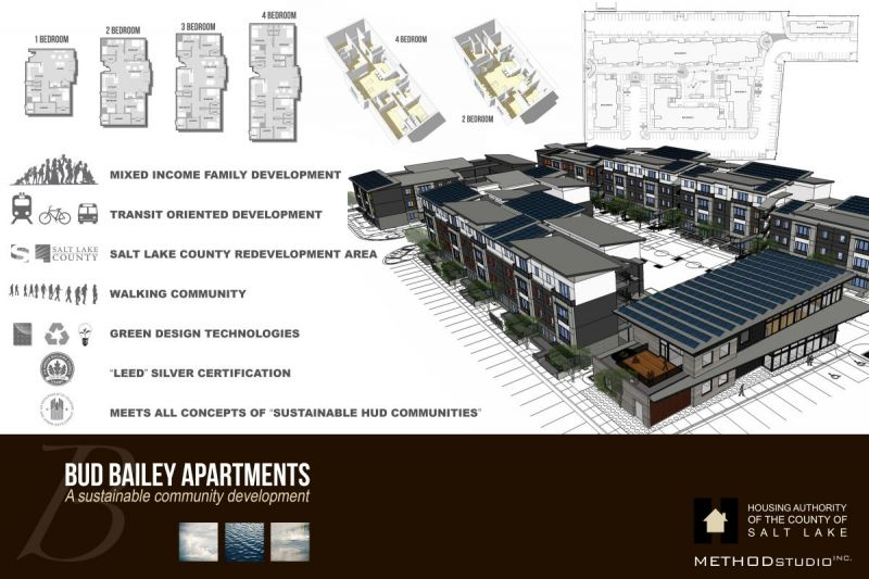 Bud Bailey floor plan and perspective rendering.