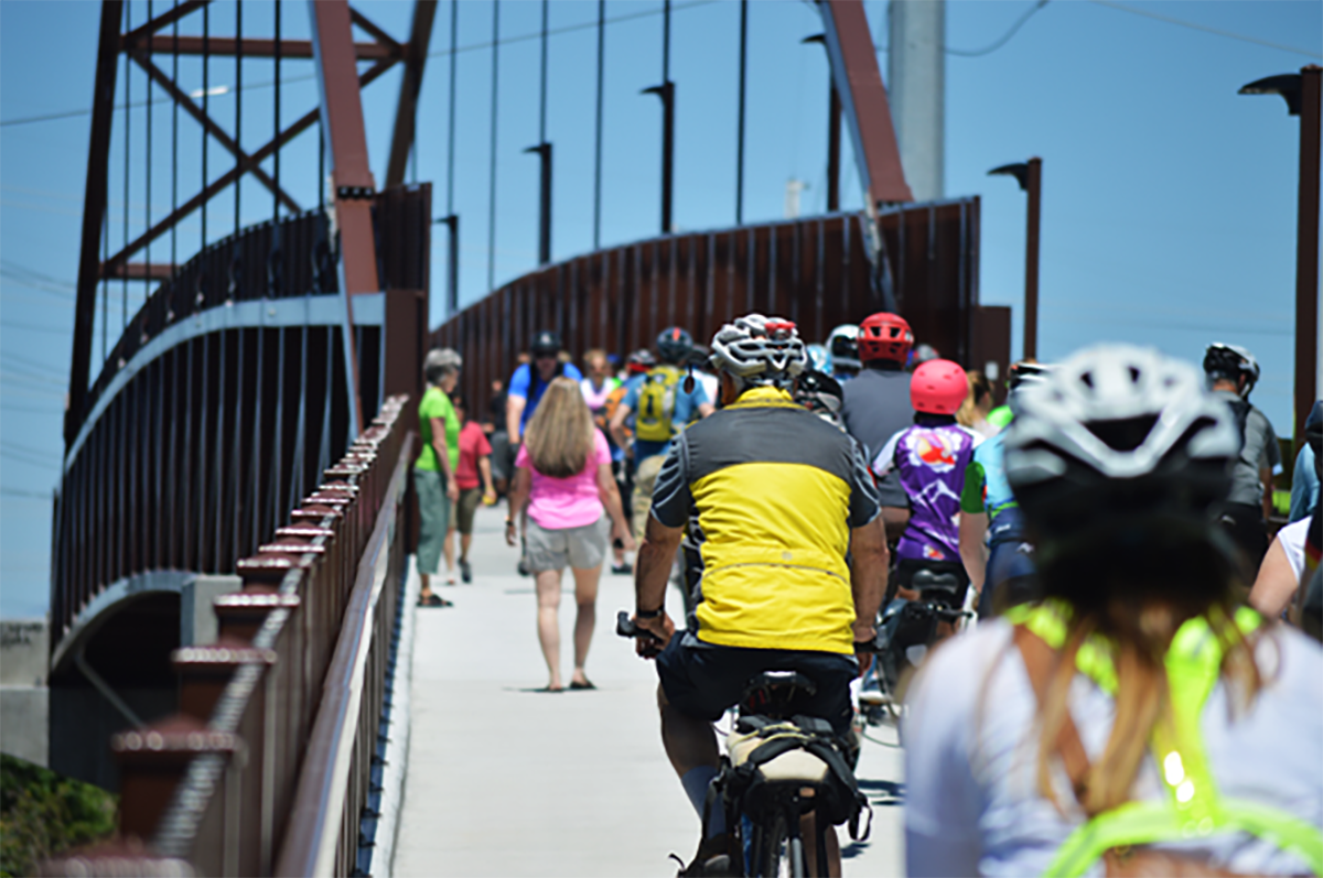 Bicyclists Ride On The Jordan River Bridge. Photo Courtesy Of Justin Adams Via My City Journals.