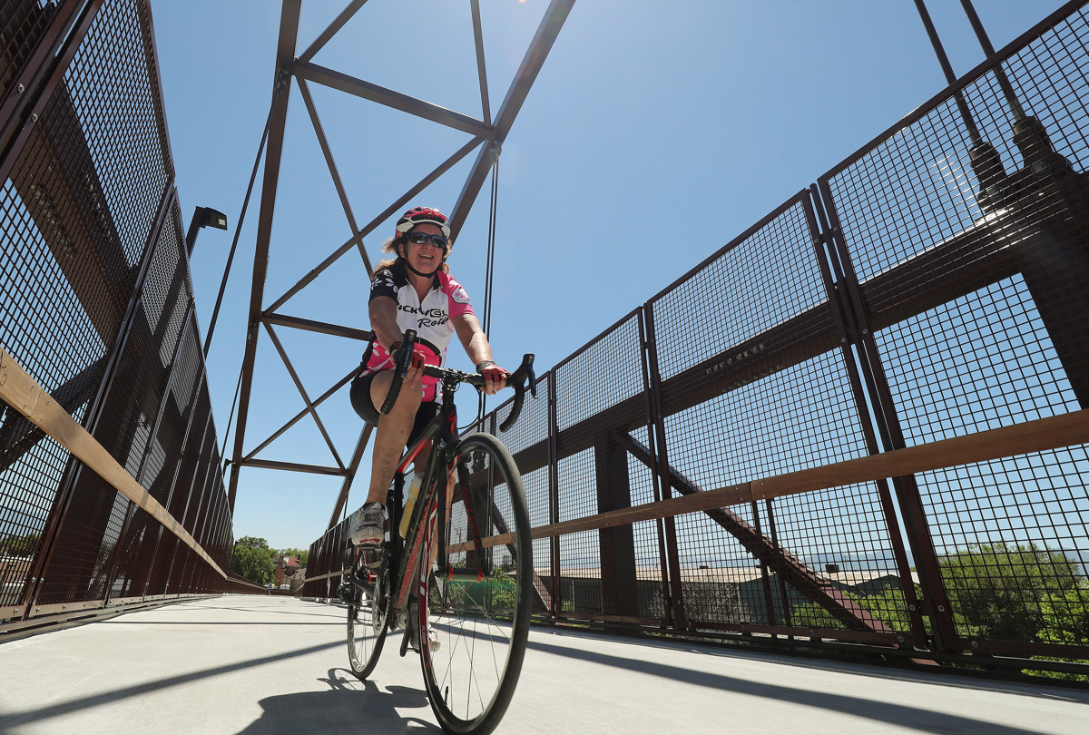 A Cyclist Rides Along The Golden Spoke Network At The Jordan River Bridge In Salt Lake City. Photo Courtesy Of Jeffrey D. Allred Via The Deseret News.