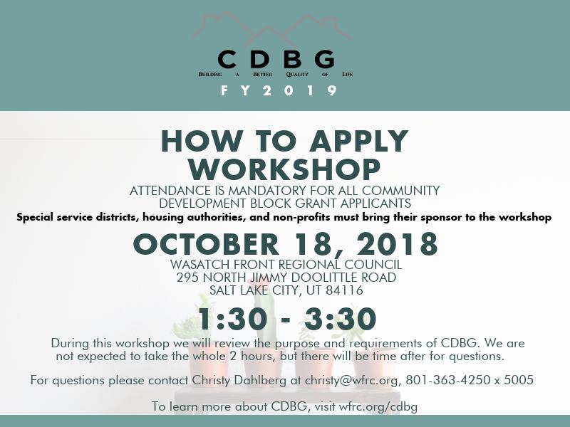 CDBG mandatory How to Apply Workshop flyer.