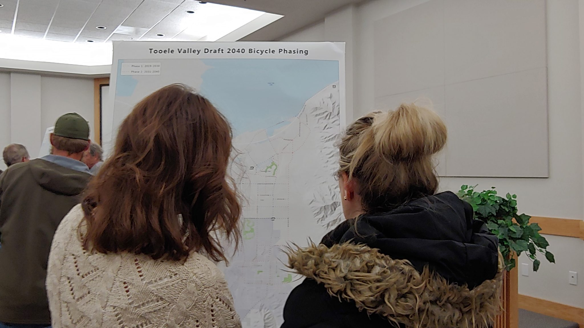 Community Members View A Map At The Tooele Valley Long-Range Transportation Plan Open House.