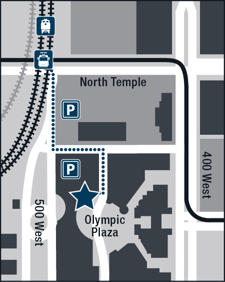 Map showing the location of the new office relative to parking and transit.