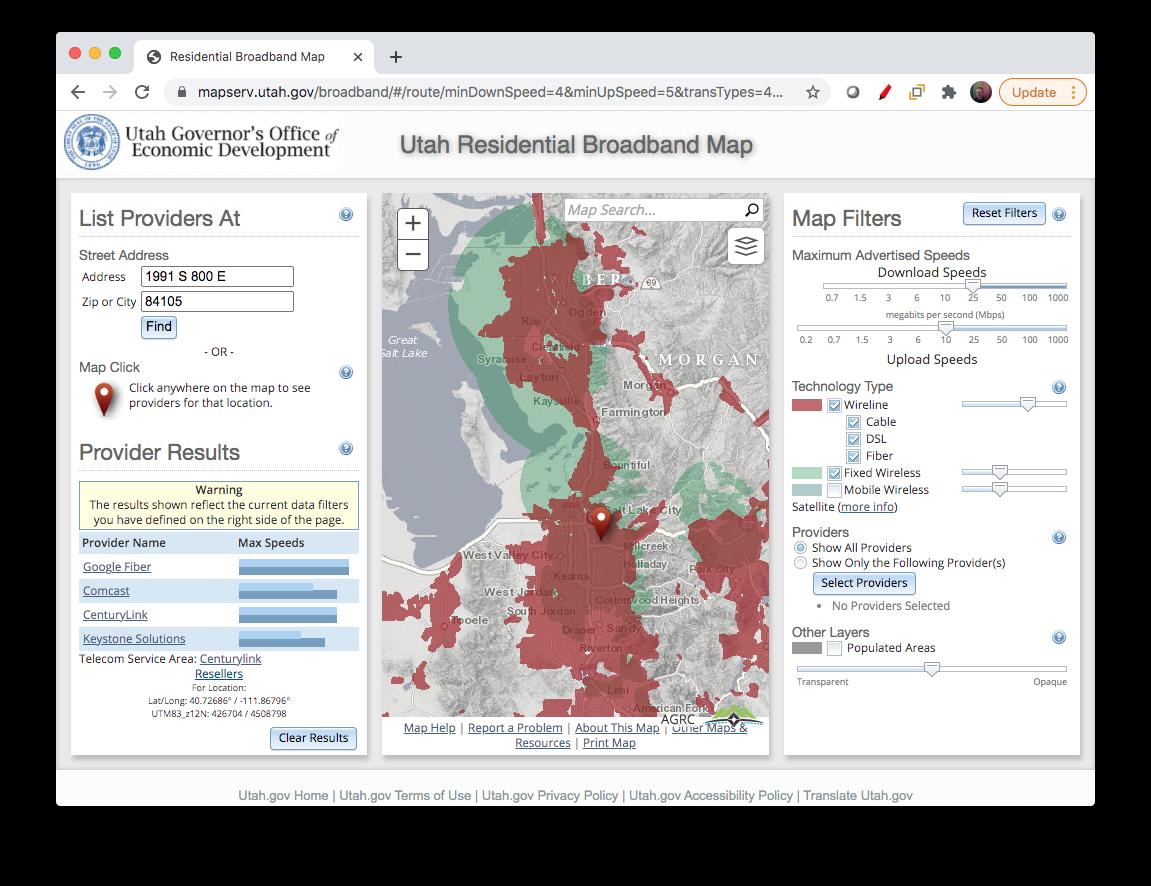 Utah Residential Broadband Map